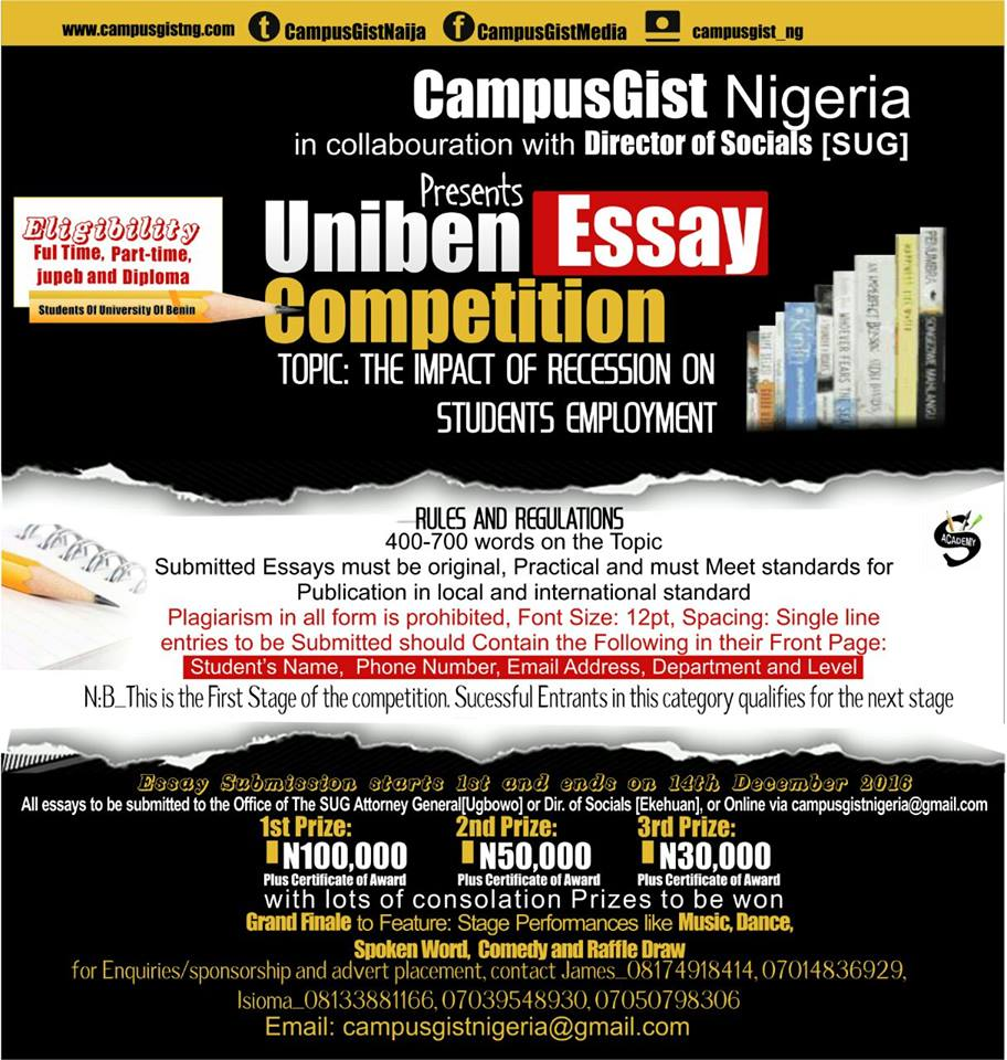 uniben gist win 100 000 as a writer see details wednesday 19 2016