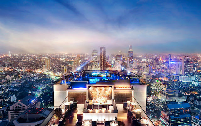 Bangkok Banyan Tree luxury hotel roofop bar in Thailand