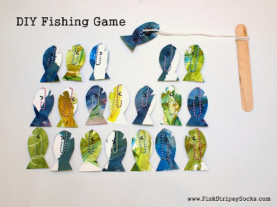 Make Easy DIY Fishing Game- Transform your child's artwork into little fish and have fun playing this fishing game!