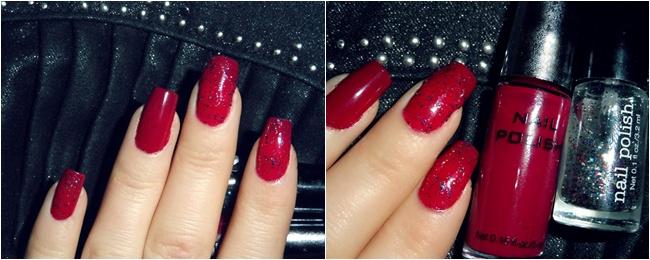 crveni nokti sa crno sivim sljokicama