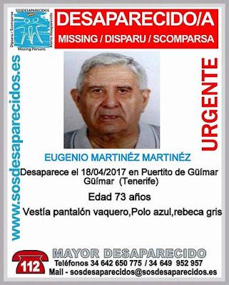 Hombre mayor desaparecido en Güimar, Tenerife. Eugenio Martínez Martínez