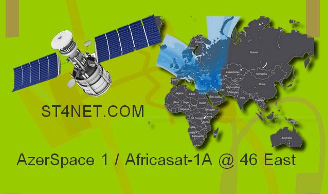 امكانية استقبال القمر الاذري في المنطقة العربية AzerSpace 1 / Africasat-1A @ 46° East