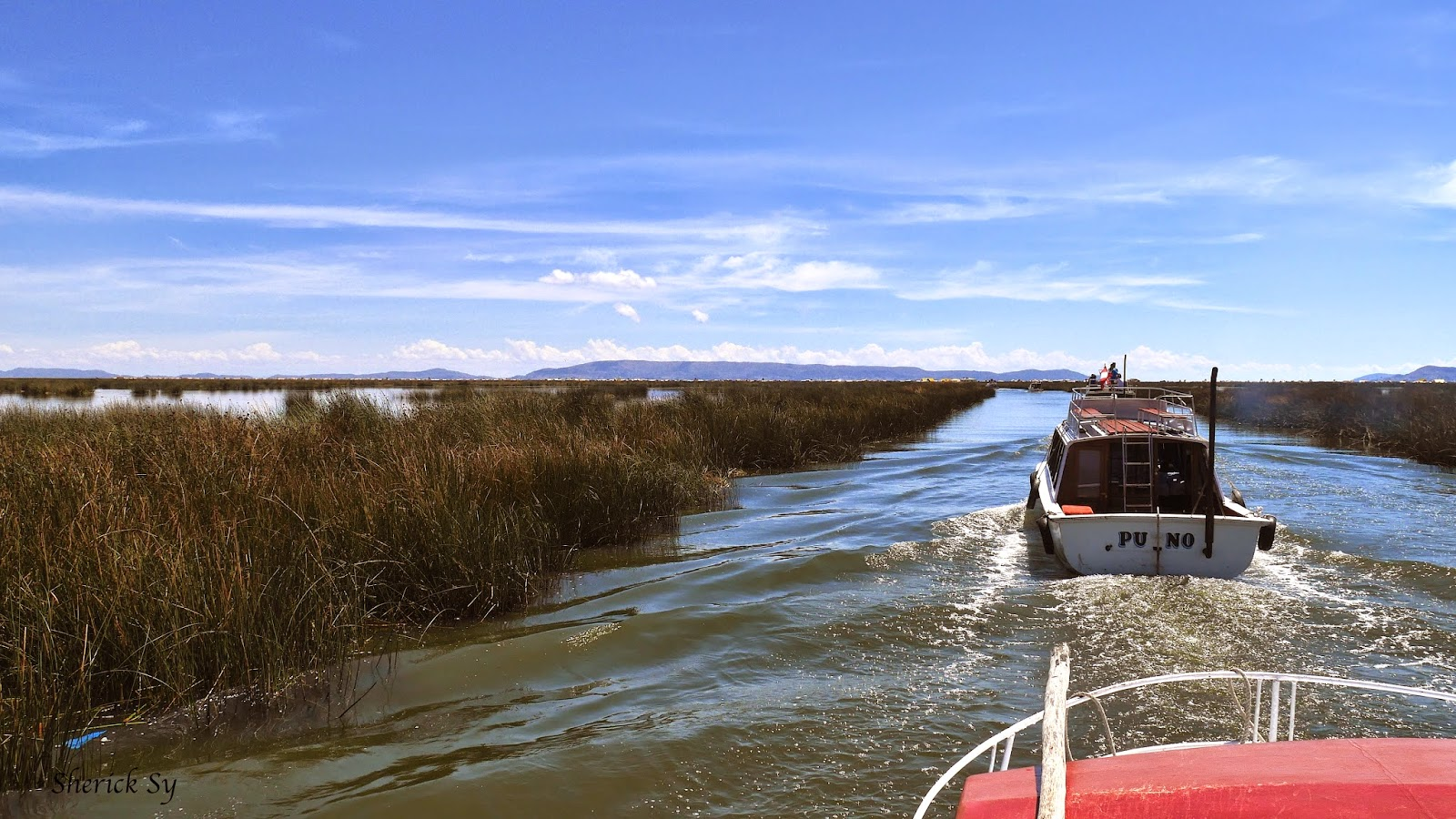 Motor Boats to Uros Islands, Lake Titicaca, Peru