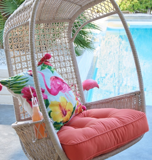 Rattan Swing Chairs for Coastal Lounging