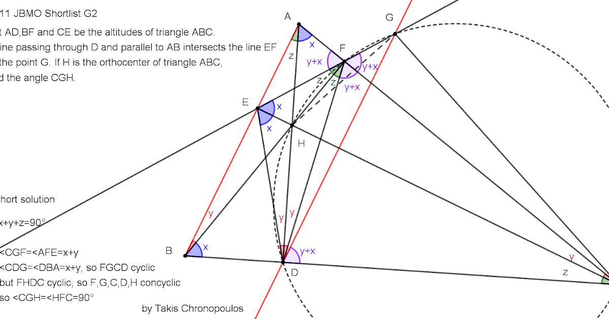 Geometry Problems from IMOs: 2011 JBMO Shortlist G2
