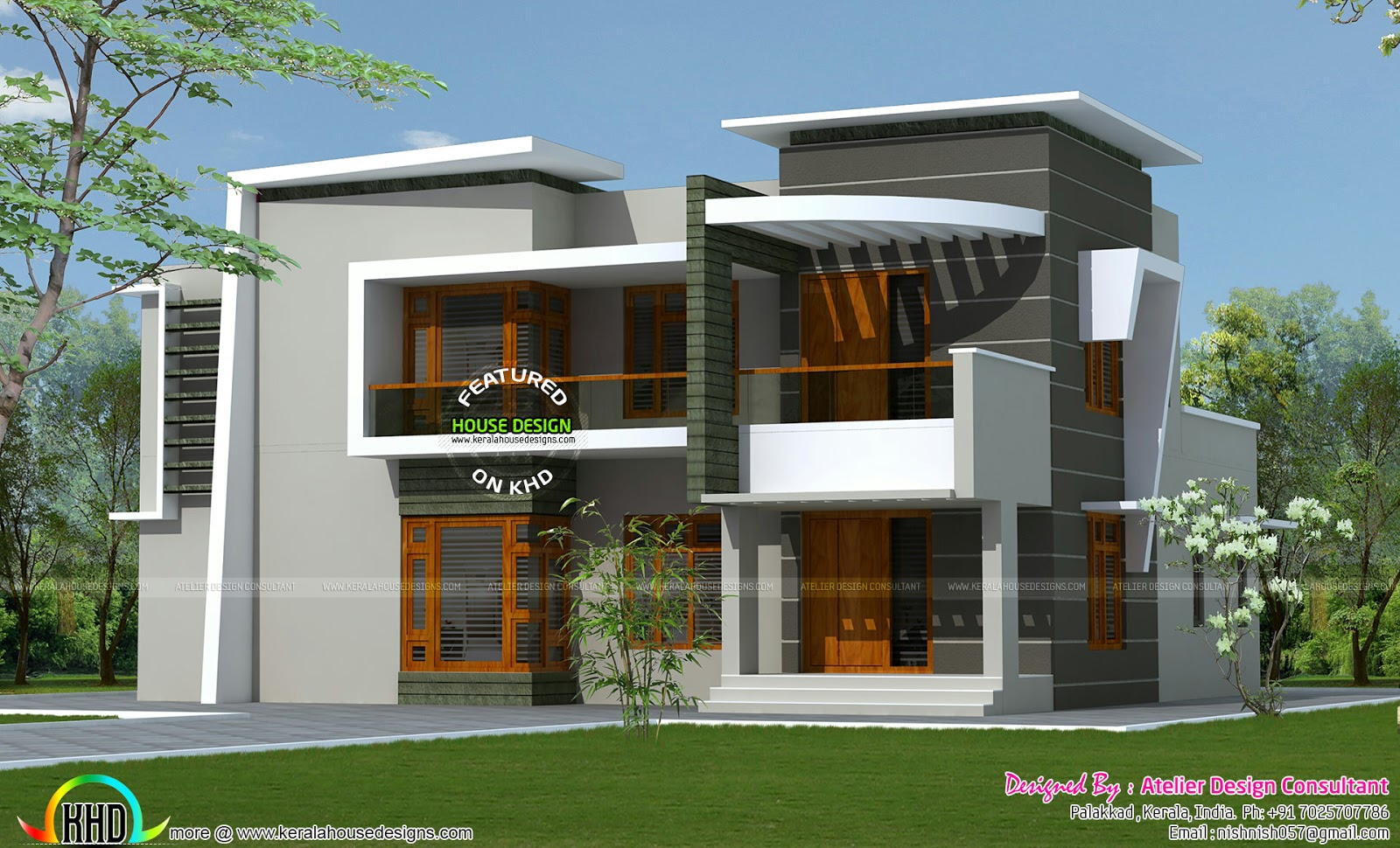 Contemporary Mix Villa Design Part - 18: 2285 Square Feet Contemporary Mix Modern Home
