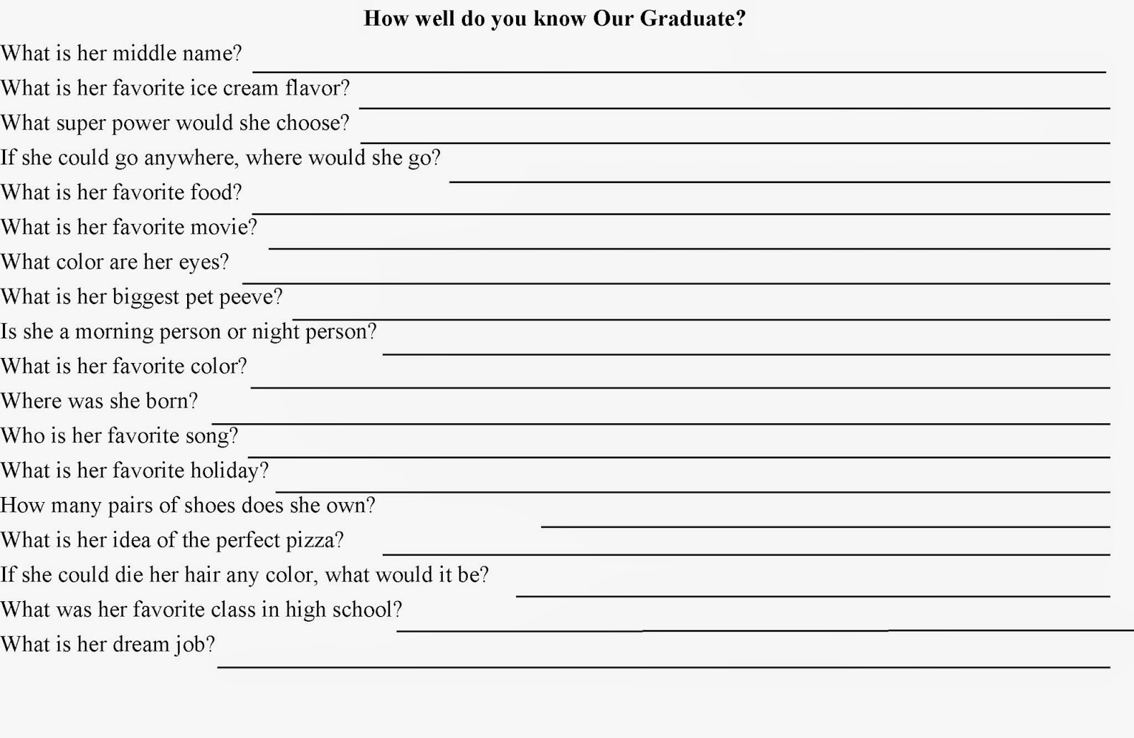 graphic about Free Printable Graduation Party Games named Do it yourself Social gathering Mother: How Very well Do Oneself Comprehend? Quiz Celebration Match