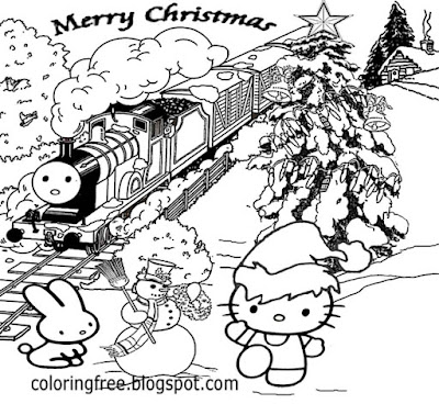 Cute hello kitty Christmas train printable girls pretty coloring drawing of winter season pictures