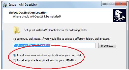 capture d'écran du programme d'installation du logiciel AM-DeadLink