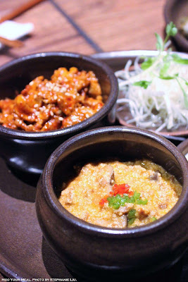 Ssam Platter with Spicy Pork and Gang-deon-jang at Oiji in New York City