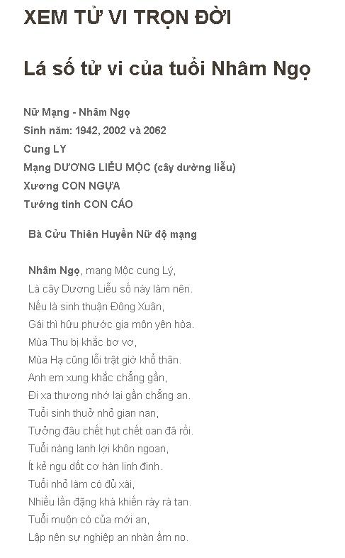 Tu Vi Nham Ngo 1942 Nu Mang