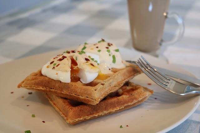 Goats Milk Yogurt & Oat Savoury Waffles topped with Poached Eggs & Guilt-Free Yogurt Hollandaise