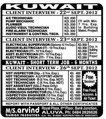 Ndt Technicians For Kuwait - Gulf Jobs For Malayalees