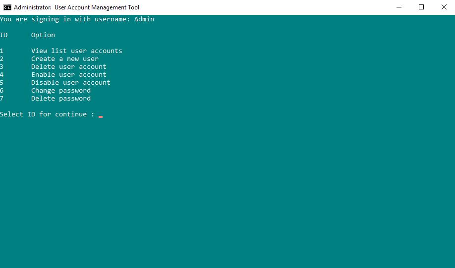 Công cụ quản lý tài khoản User Account Management Tool
