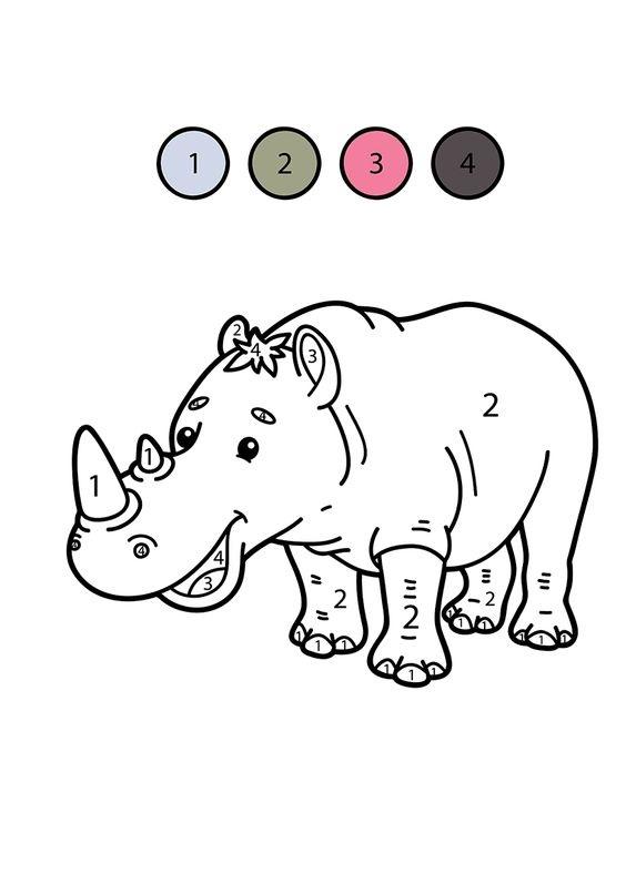 Hình tô màu con tê giác theo số
