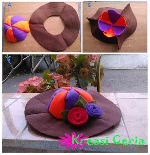 Cara mudah membuat topi cantik dari kain flanel