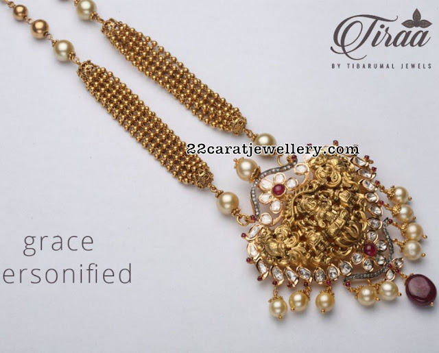 Lakshmi Pendant Set by Tibarumal Jewels