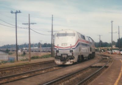 Amtrak B40-8P #807 in Vancouver, Washington, on July 13, 1997