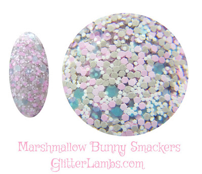 """This glitter nail polish I created is called """"Marshmallow Bunny Smackers"""" and it is such a soft sweet glitter mix. Glitter Lambs """"Marshmallow Bunny Smackers"""" nail polish has an assorted mix of gray hex glitters, light pink hex, light blue hex and tiny white hex."""