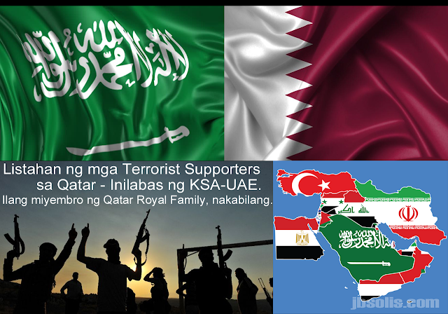"A joint statement by the governments of Saudi Arabia, UAE, Bahrain and Egypt have listed 59 individuals and 12 Qatari-affiliated entities on a combined list of what they described as ""terrorist supporters."" This comes after the four countries headed the severing of ties to the Peninsular Kingdom. As of date, the countries Mauritius, Yemen, the Maldives as well as the Eastern Government of Libya have followed the move. The Djibouti and the Kingdom of Jordan meanwhile has downgraded its relationship with Qatar.  The joint statement explained that the list was written due to ""Qatar's actions in contravention of its commitments, including supporting and harboring individuals, groups and organizations that threaten the National security of other states.""   Doha repeatedly ignored ""calls for the fulfillment of its obligations under the Riyadh Agreement of 2013 and its associated Implementation Mechanisms, and in addition the Comprehensive Agreement of 2014""  The statement said that the majority of entities sanctioned are ""linked to Qatar and are a manifestation of a Qatari government policy of duplicity.  One that calls for combating terrorism, whilst simultaneously overseeing the financing, supporting and harboring a vast array of terrorist groups and terrorist financing networks"".   List of individuals including their Nationality:  1. Khalifa Mohammed Turki al-Subaie - Qatari 2. Abdelmalek Mohammed Yousef Abdel Salam - Jordanian 3. Ashraf Mohammed Yusuf Othman Abdel Salam - Jordanian 4. Ibrahim Eissa Al-Hajji Mohammed Al-Baker - Qatari 5. Abdulaziz bin Khalifa al-Attiyah - Qatari 6. Salem Hassan Khalifa Rashid al-Kuwari - Qatari 7. Abdullah Ghanem Muslim al-Khawar - Qatari 8. Saad bin Saad Mohammed al-Kaabi - Qatari 9. Abdullatif bin Abdullah al-Kuwari - Qatari 10. Mohammed Saeed Bin Helwan al-Sakhtari - Qatari 11. Abdul Rahman bin Omair al-Nuaimi - Qatari 12. Abdul Wahab Mohammed Abdul Rahman al-Hmeikani - Yemeni 13. Khalifa bin Mohammed al-Rabban - Qatari 14. Abdullah Bin Khalid al-Thani - Qatari 15. Abdul Rahim Ahmad al-Haram - Qatari 16. Hajjaj bin Fahad Hajjaj Mohammed al-Ajmi - Kuwaiti 17. Mubarak Mohammed al-Ajji - Qatari 18. Jaber bin Nasser al-Marri - Qatari 19. Yusuf Abdullah al-Qaradawi - Egyptian 20. Mohammed Jassim al-Sulaiti - Qatari 21. Ali bin Abdullah al-Suwaidi - Qatari 22. Hashem Saleh Abdullah al-Awadhi - Qatari 23. Ali Mohammed Mohammed al-Salabi - Libyan 24. Abdelhakim Belhadj - Libyan 25. Mahdi Harati - Libyan 26. Ismail Muhammad Mohammed al-Salabi - Libyan 27. Al-Sadiq Abdulrahman Ali al-Ghuraini - Libyan 28. Hamad Abdullah Al-Futtais al-Marri - Qatar 29. Mohamed Ahmed Shawky Islambouli - Egyptian 30. Tariq Abdelmagoud Ibrahim al-Zomor - Egyptian 31. Mohamed Abdelmaksoud Mohamed Afifi - Egyptian 32. Mohamed el-Saghir Abdel Rahim Mohamed - Egyptian 33. Wajdi Abdelhamid Mohamed Ghoneim - Egyptian 34. Hassan Ahmed Hassan Mohammed Al Dokki Al Houti - UAE 35. Hakem al-Humaidi al-Mutairi - Saudi / Kuwaiti 36. Abdullah Mohammed Sulaiman al-Moheiseni - Saudi 37. Hamed Abdullah Ahmed al-Ali - Kuwaiti 38. Ayman Ahmed Abdel Ghani Hassanein - Egyptian 39. Assem Abdel-Maged Mohamed Madi - Egyptian 40. Yahya Aqil Salman Aqeel - Egyptian 41. Mohamed Hamada el-Sayed Ibrahim - Egyptian 42. Abdel Rahman Mohamed Shokry Abdel Rahman - Egyptian 43. Hussein Mohamed Reza Ibrahim Youssef - Egyptian 44. Ahmed Abdelhafif Mahmoud Abdelhady - Egyptian 45. Muslim Fouad Tafran - Egyptian 46. Ayman Mahmoud Sadeq Rifat - Egyptian 47. Mohamed Saad Abdel-Naim Ahmed - Egyptian 48. Mohamed Saad Abdel Muttalib Abdo Al-Razaki - Egyptian 49. Ahmed Fouad Ahmed Gad Beltagy - Egyptian 50. Ahmed Ragab Ragab Soliman - Egyptian 51. Karim Mohamed Mohamed Abdel Aziz - Egyptian 52. Ali Zaki Mohammed Ali - Egyptian 53. Naji Ibrahim Ezzouli - Egyptian 54. Shehata Fathi Hafez Mohammed Suleiman - Egyptian 55. Muhammad Muharram Fahmi Abu Zeid - Egyptian 56. Amr Abdel Nasser Abdelhak Abdel-Barry - Egyptian 57. Ali Hassan Ibrahim Abdel-Zaher - Egyptian 58. Murtada Majeed al-Sindi - Bahraini 59. Ahmed Al-Hassan al-Daski - Bahraini  List of groups/entities:  1. Qatar Volunteer Center - Qatar 2. Doha Apple Company (Internet and Technology Support Company) - Qatar 3. Qatar Charity - Qatar 4. Sheikh Eid al-Thani Charity Foundation (Eid Charity) - Qatar 5. Sheikh Thani Bin Abdullah Foundation for Humanitarian Services - Qatar 6. Saraya Defend Benghazi - Libya 7. Saraya al-Ashtar - Bahrain 8. February 14 Coalition - Bahrain 9. The Resistance Brigades - Bahrain 10. Hezbollah Bahrain - Bahrain 11. Saraya al-Mukhtar - Bahrain 12. Harakat Ahrar Bahrain - Bahrain Movement  Most of the individuals reside in Qatar and some are said to be in Bahrain. The same could be said of the groups in terms of their headquarters."