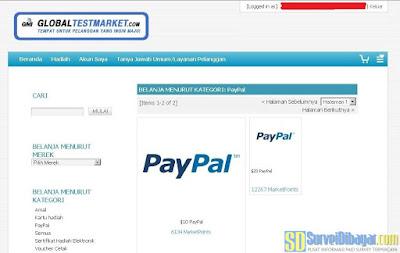 Menu penukaran hadiah PayPal di situs GlobalTestMarket | SurveiDibayar.com