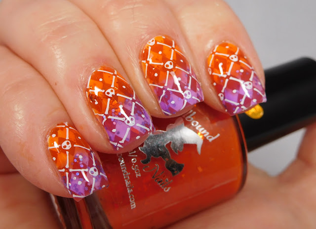 Halloween Harlequin with UberChic Beauty Halloween 02 & Spellbound Nails Crookshanks + The Knight Bus