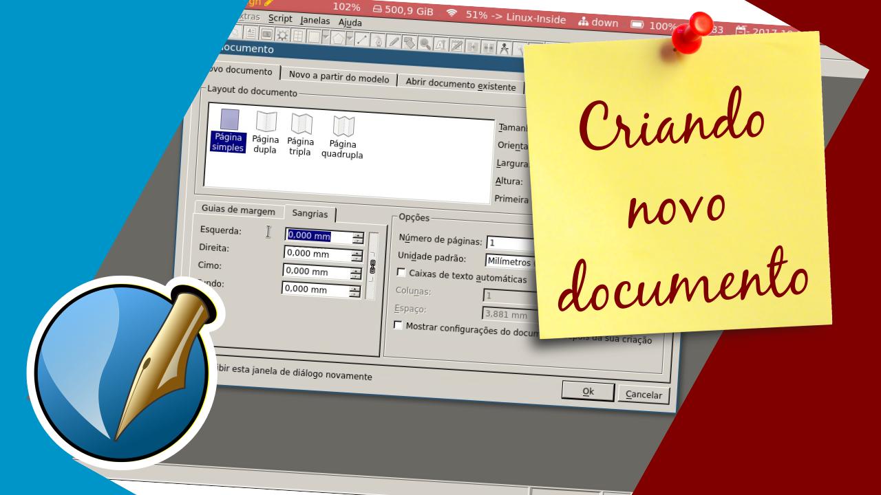 Ilustração de chamada do post - Configurando um novo documento no Scribus