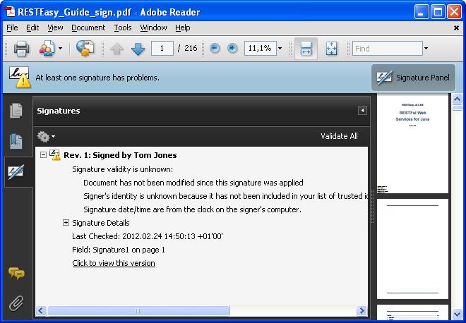 Free digital signature: PDF digital signature example