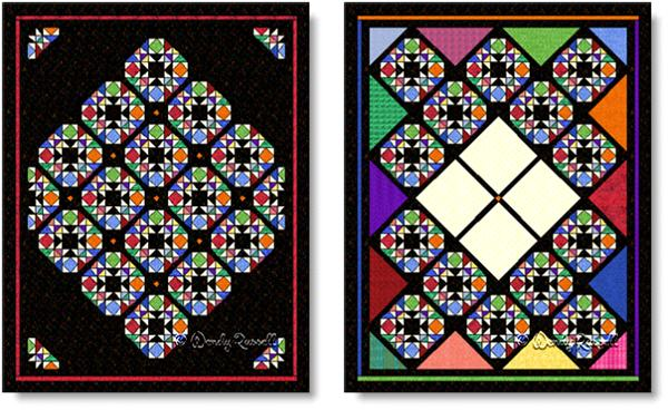 Quilts using Joseph's Coat quilt block - images © Wendy Russell