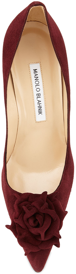 Manolo Blahnik Lisa Suede Flower 90mm Pump, Bordeaux