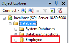 SQL Server : Creation of user defined database