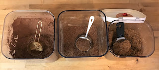 Leave measuring cups in the cocoa, sucanat and brown sugar