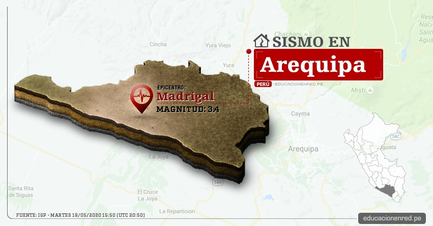 Temblor en Arequipa de Magnitud 3.4 (Hoy Martes 19 Mayo 2020) Sismo - Epicentro - Madrigal - Caylloma - IGP - www.igp.gob.pe