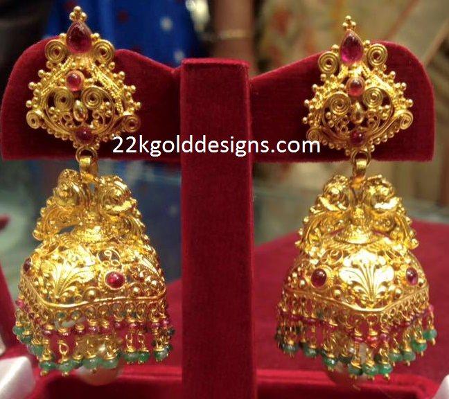 25 Grams Temple Jhumkas 22kgolddesigns