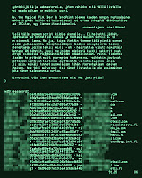 [Image: Excerpt from a leaked password file with a message from hackers in Finnish, rendered to resemble an early IBM PC terminal display.]