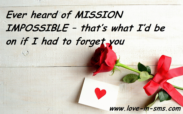 Ever heard of MISSION IMPOSSIBLE – that's what I'd be on if I had to forget you.
