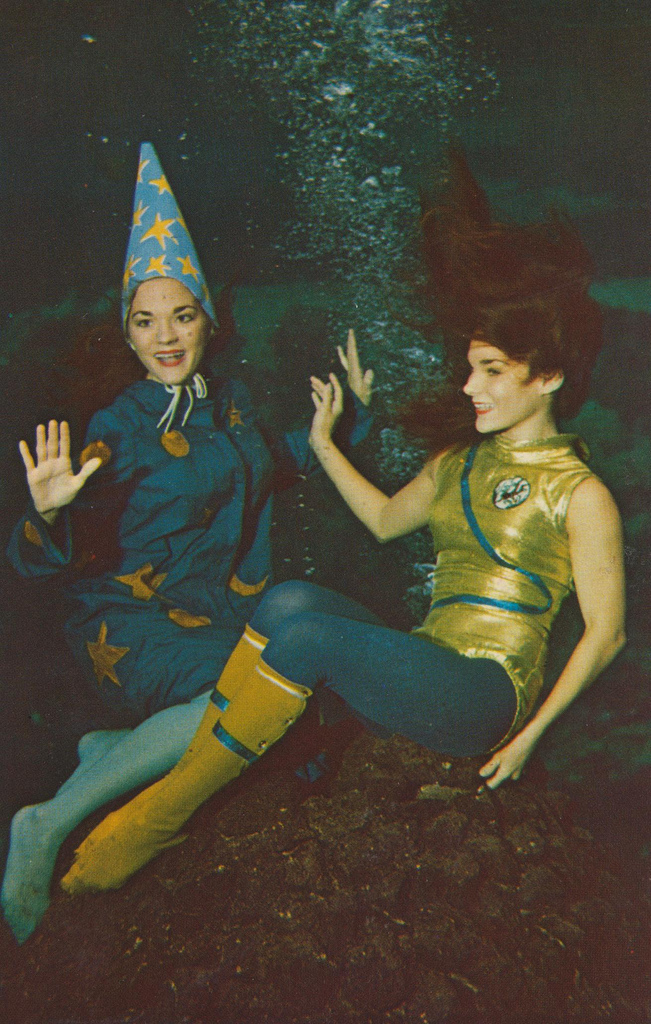 Two Lovely Moonmaids Pose In A Scene From The All New Underwater Show Mermaids On Moon