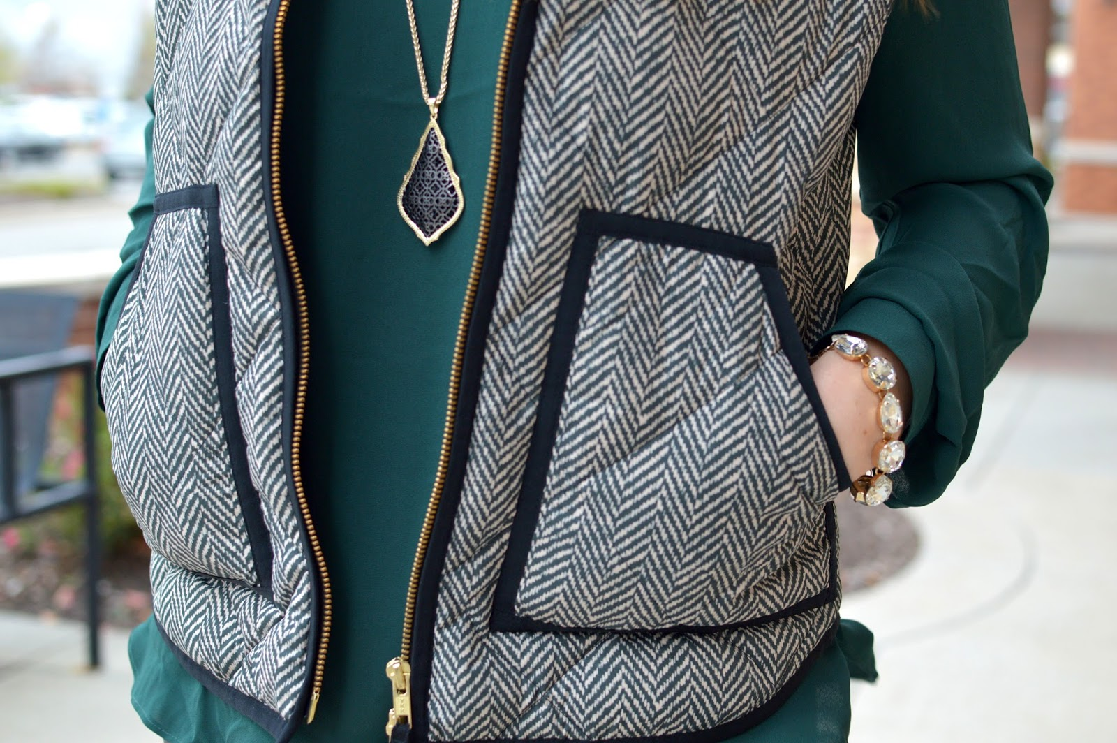 j.crew herringbone vest with emerald green top
