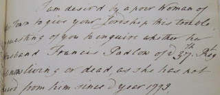 Francis Padlow, 37th Regiment, doesn't write to his Wife
