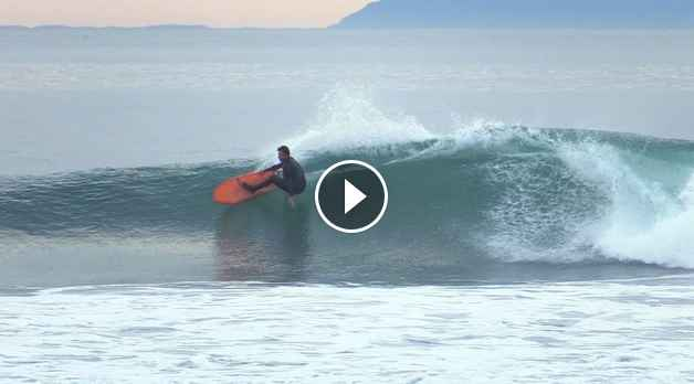 Dane Reynolds Surfing Assymetrical Surfboard at Rincon