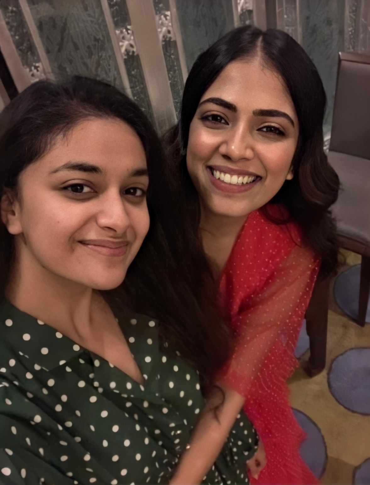Keerthy Suresh with Cute and Lovely Chubby Cheeks Smile Selfie with Malavika Mohanan 1