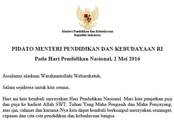 Download Naskah Pidato Sambutan Mendikbud pada Hardiknas 2016