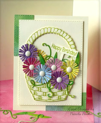 ODBD Basket of Blessings, ODBD Free Promotional Sentiment, ODBD Custom Easter Basket Die, ODBD Custom Asters and Leaves Dies, ODBD Custom Double Stitched Rectangles Dies, ODBD Customer Card of the Day Designed by Pamela Haskin
