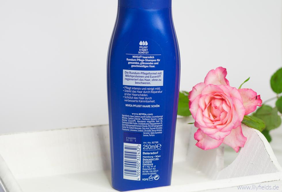 Foto zeigt Rückseite Nivea Haarmilch Rundum-Pflege Shampoo und Spülung
