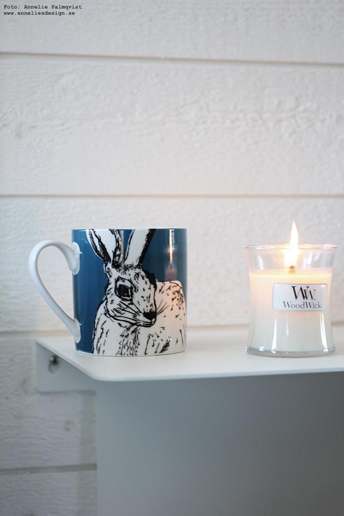annelies design, webbutik, hare, mugg, kaffe, kaffekopp, woodwick, doftljus,