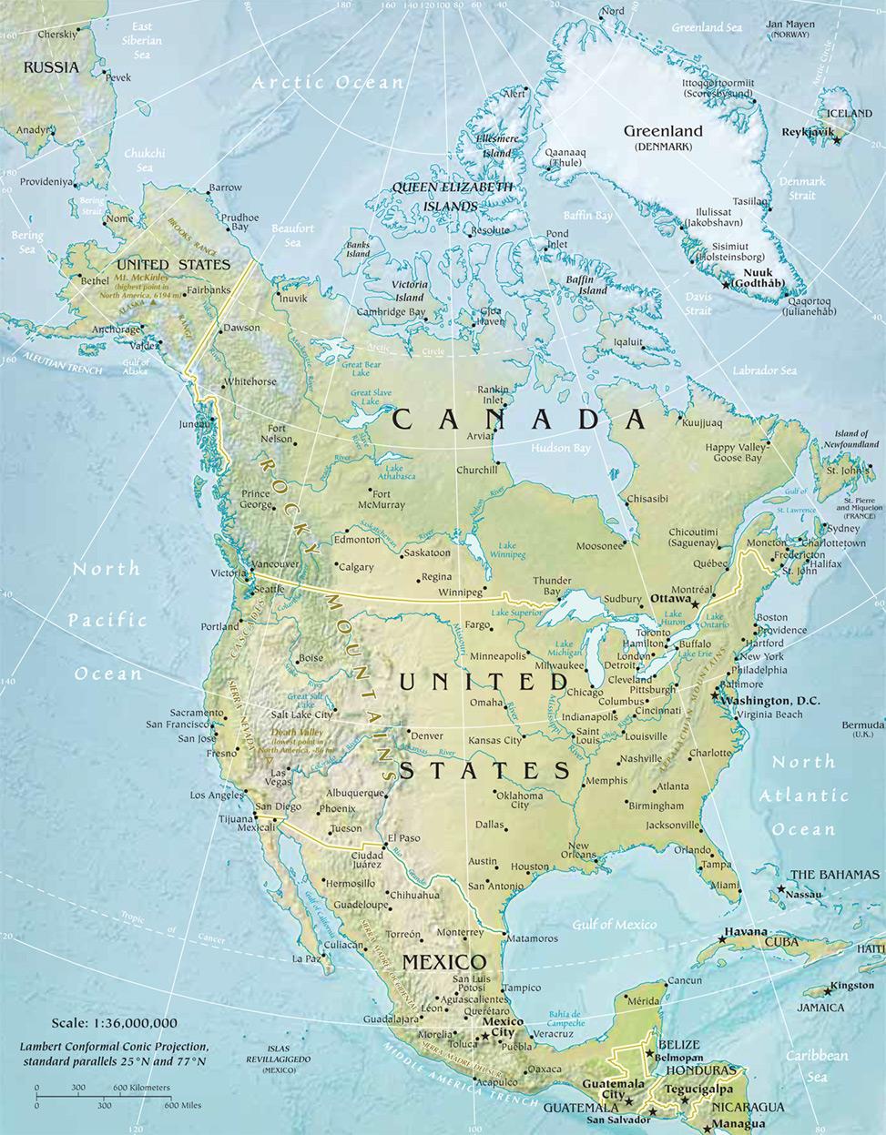 América do Norte | Mapas Geográficos da América do Norte