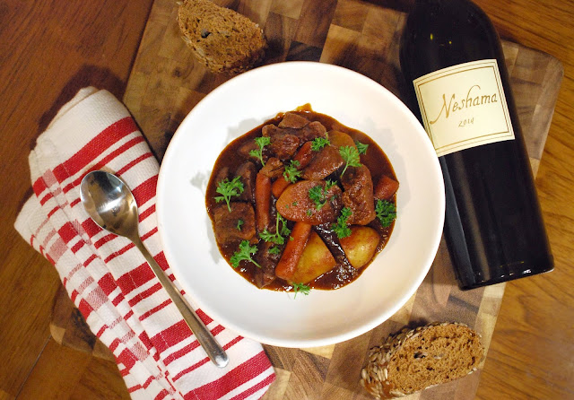Smoky Beef Goulash with Covenant Neshama Red Blend.