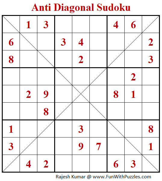 Anti Diagonal Sudoku Puzzle (Fun With Sudoku #247)