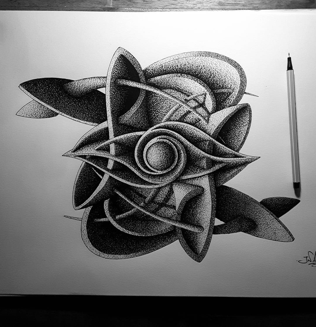 04-in-my-mind-art-Complex-Geometric-shapes-in-Ink-Stippling-Drawings-www-designstack-co