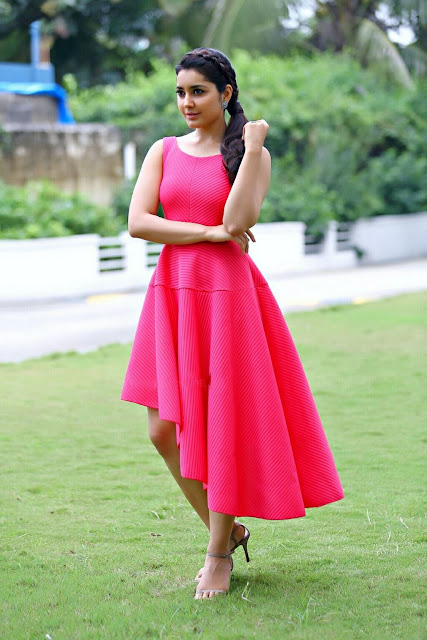 Raashi Khanna In Pink Low High Quiz Clothing Party Dress